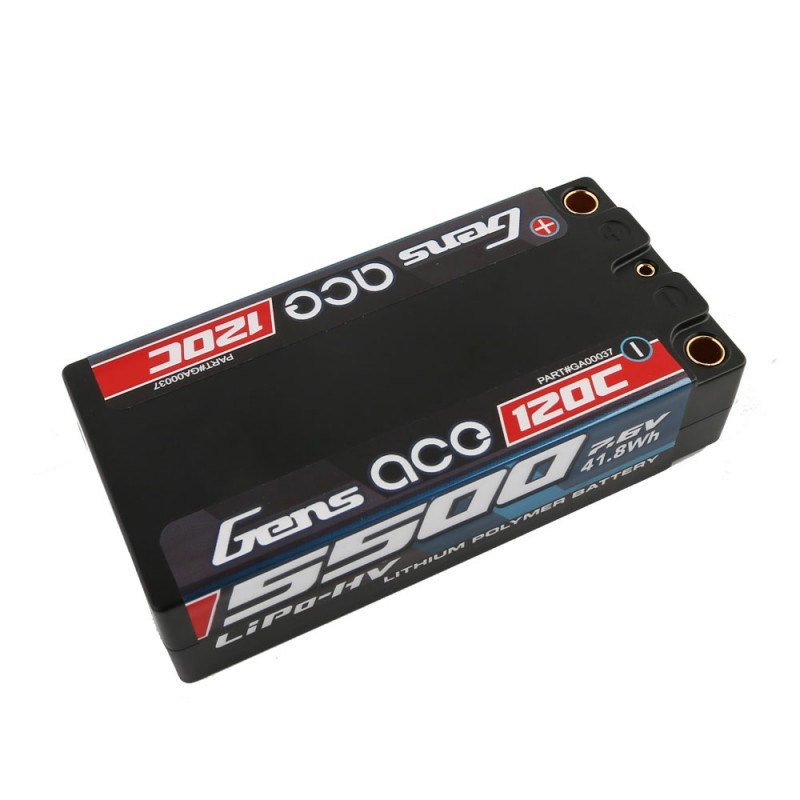 Gens ace 5500mAh 7.6V High Voltage120C 2S2P Racing Series Shorty Black HardCase Lipo
