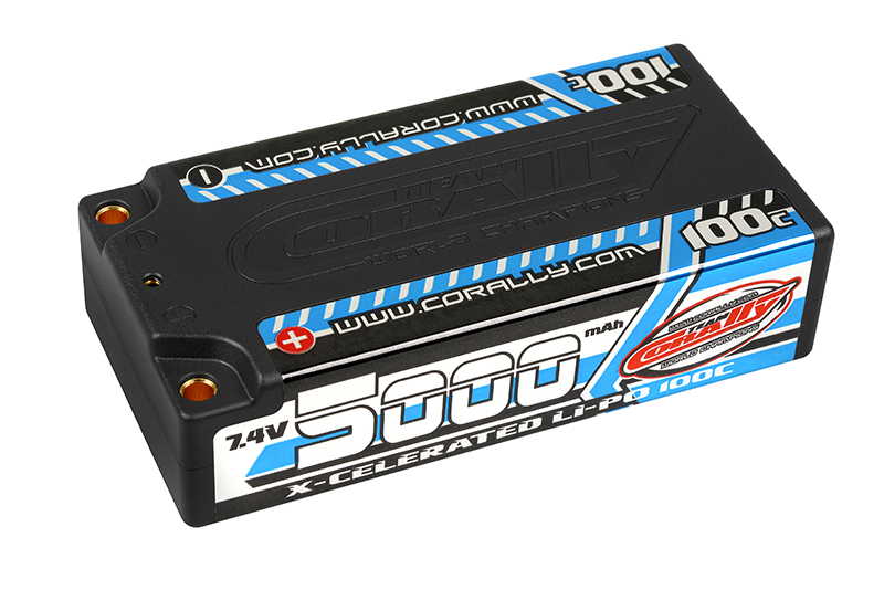 Team Corally - X-Celerated 100C LiPo Battery - 5000 mAh - 7.4V - Stick 2S - 4mm Bullit
