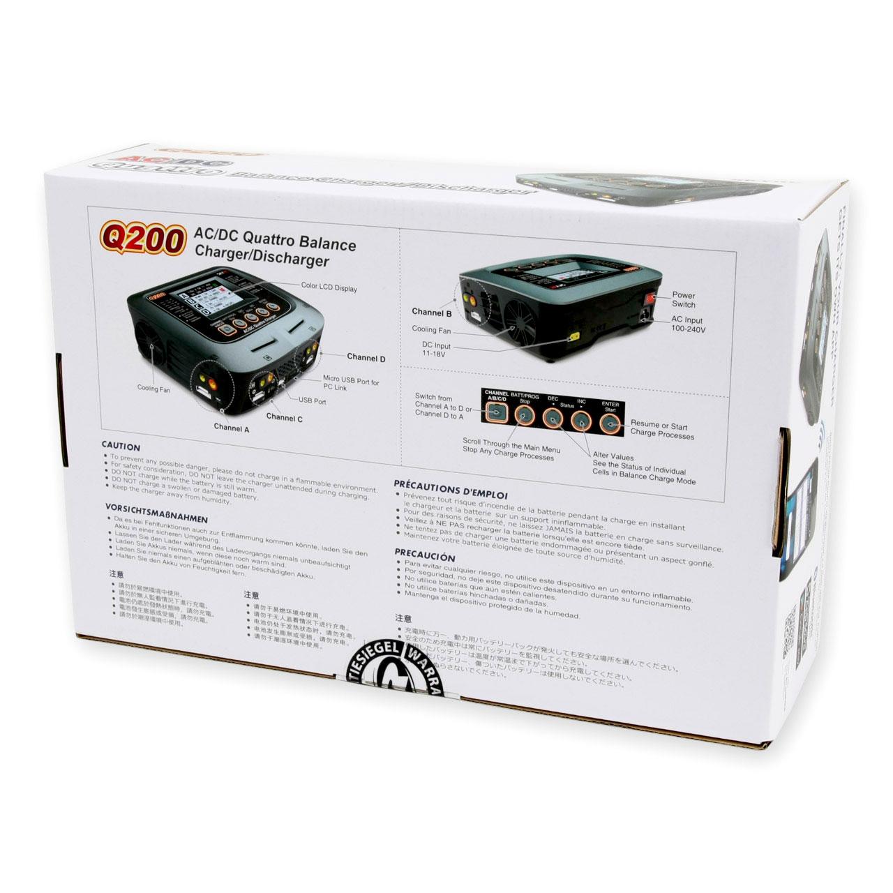 SkyRC Ladegerät Q200 AC//DC 2x100W 2x50W LiPo 1-6S 10A SK100158